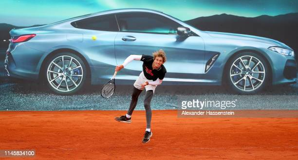 Alexander Zverev of Germany serves during a training session on day 3 of the BMW Open at MTTC IPHITOS on April 29 2019 in Munich Germany