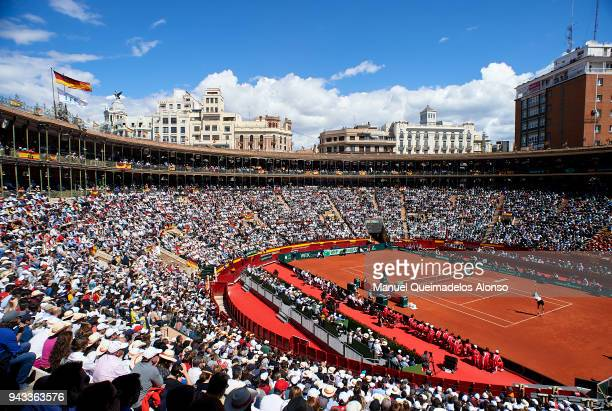 Alexander Zverev of Germany serves during his match against Rafael Nadal of Spain during day three of the Davis Cup World Group Quarter Final match...