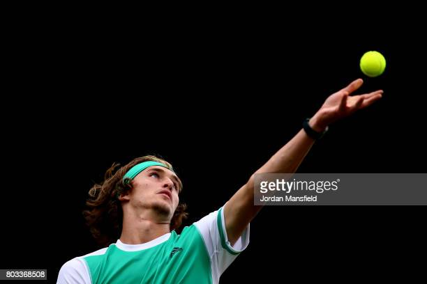 Alexander Zverev of Germany serves during his match against Thanasi Kokkinakis of Australia during day three of The Boodles Tennis Event at Stoke...