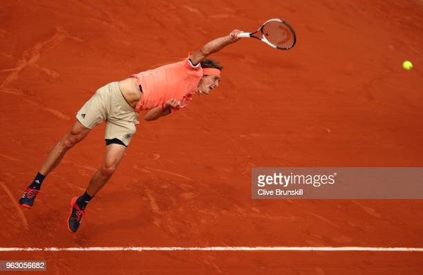 Alexander Zverev of Germany serves during his mens singles first round match against Ricardas Berankis of Lithuania during day one of the 2018 French...