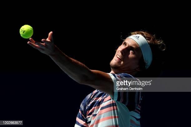 Alexander Zverev of Germany serves during his Men's Singles Quarterfinal match against Stan Wawrinka of Switzerland on day ten of the 2020 Australian...