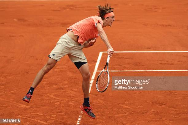 Alexander Zverev of Germany serves during his mens singles third round match against Damir Dzumhur of Bosnia and Herzegovinia during day six of the...