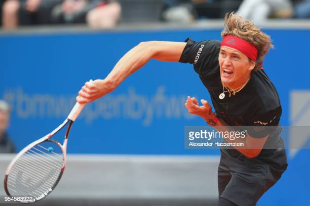 Alexander Zverev of Germany serves during his Quaterfinale match against JanLennard Struff of Germany on day 7 of the BMW Open by FWU at MTTC IPHITOS...