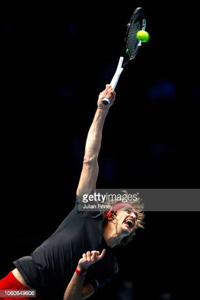 Alexander Zverev of Germany serves during his singles round robin match against Marin Cilic of Croatia during Day Two of the Nitto ATP Finals at The...