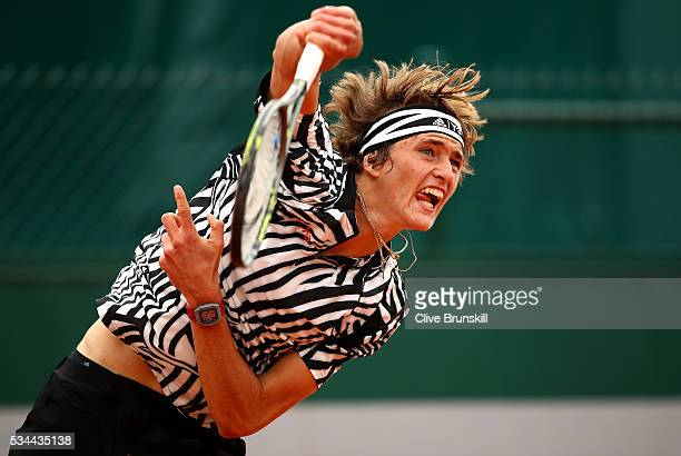 Alexander Zverev of Germany serves during the Men's Singles second round match against Stephane Robert of France on day five of the 2016 French Open...