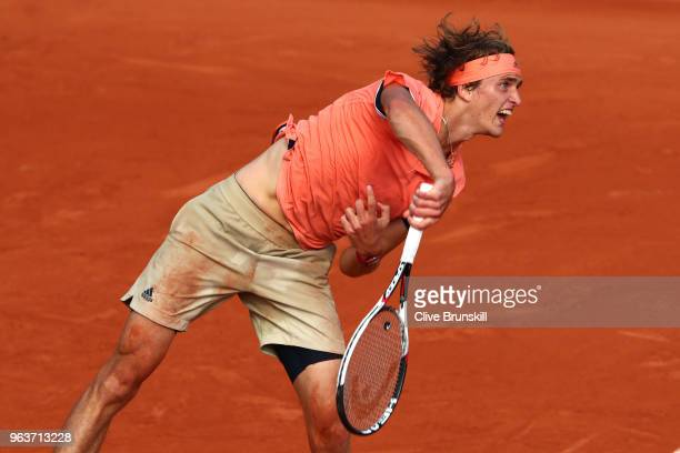 Alexander Zverev of Germany serves during the mens singles second round match against Dusan Lajovic of Serbia during day four of the 2018 French Open...