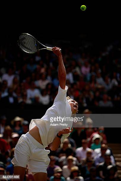 Alexander Zverev of Germany serves during the Men's Singles third round match against Tomas Berdych of The Czech Republic on Middle Sunday of the...
