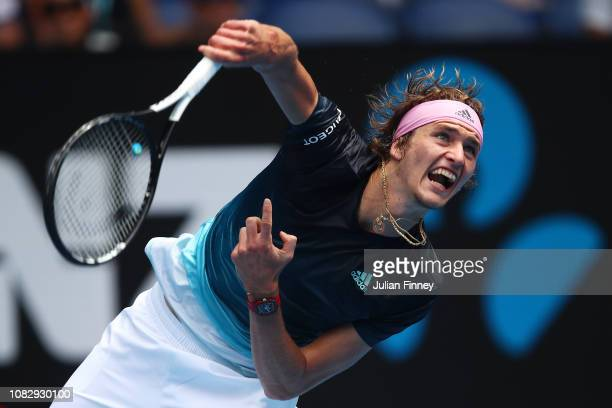 Alexander Zverev of Germany serves in his first round match against Aljaz Bedene of Slovenia during day two of the 2019 Australian Open at Melbourne...