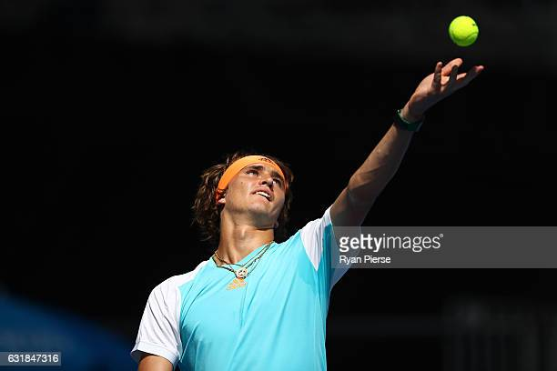 Alexander Zverev of Germany serves in his first round match against Robin Haase of the Netherlands on day two of the 2017 Australian Open at...