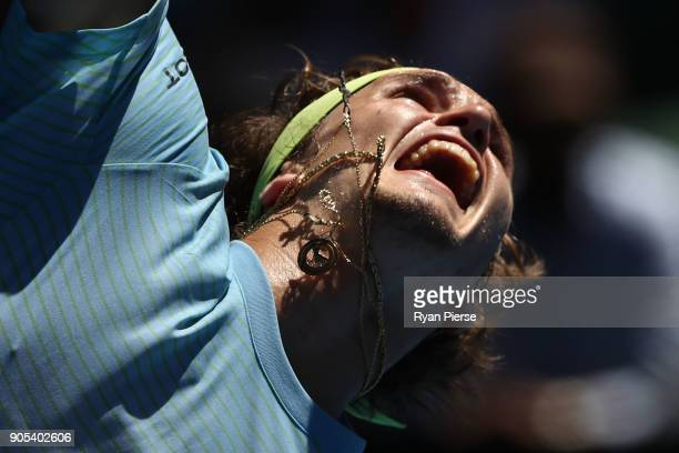 Alexander Zverev of Germany serves in his first round match against Thomas Fabbiano of Italy on day two of the 2018 Australian Open at Melbourne Park...