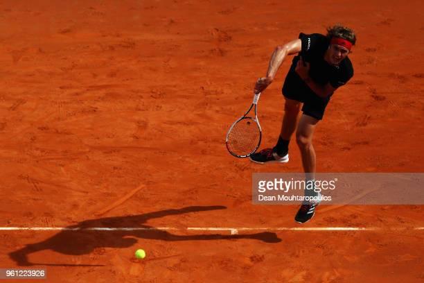 Alexander Zverev of Germany serves in his Mens Final match against Rafael Nadal of Spain during day 8 of the Internazionali BNL d'Italia 2018 tennis...