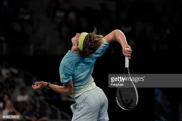 Alexander Zverev of Germany serves in his second round match against Peter Gojowczyk of Germany on day four of the 2018 Australian Open at Melbourne...