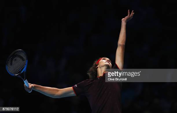 Alexander Zverev of Germany serves in his Singles match against Jack Sock of the United States during day five of the Nitto ATP World Tour Finals at...