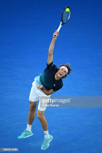 Alexander Zverev of Germany serves in his third round match against Alex Bolt of Australia during day six of the 2019 Australian Open at Melbourne...