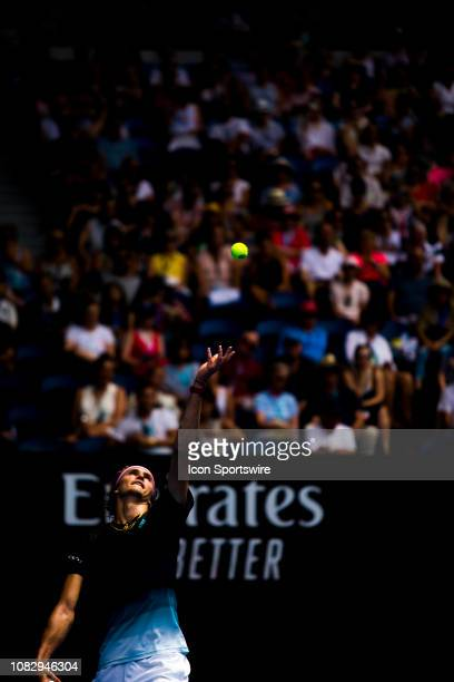 Alexander Zverev of Germany serves the ball during day 2 of the Australian Open on January 15 2019 at Melbourne Park in Melbourne Australia