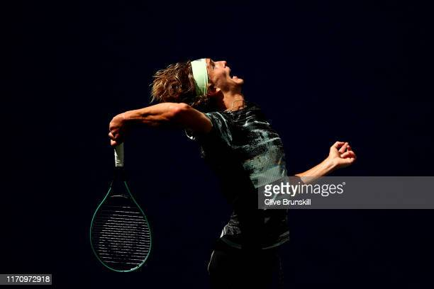 Alexander Zverev of Germany serves the ball during his Men's Singles second round match against Frances Tiafoe of the United States on day four of...