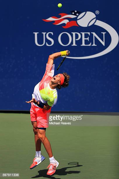 Alexander Zverev of Germany serves to Daniel Brands of Germany during his first round Men's Singles match on Day Two of the 2016 US Open at the USTA...