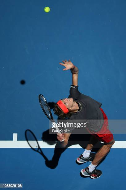 Alexander Zverev of Germany serves to David Ferrer of Spain during day two of the 2019 Hopman Cup at RAC Arena on December 30 2018 in Perth Australia