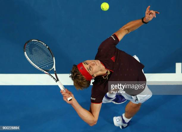 Alexander Zverev of Germany serves to David Goffin of Belgium in the mens singles match on day 3 during the 2018 Hopman Cup at Perth Arena on January...