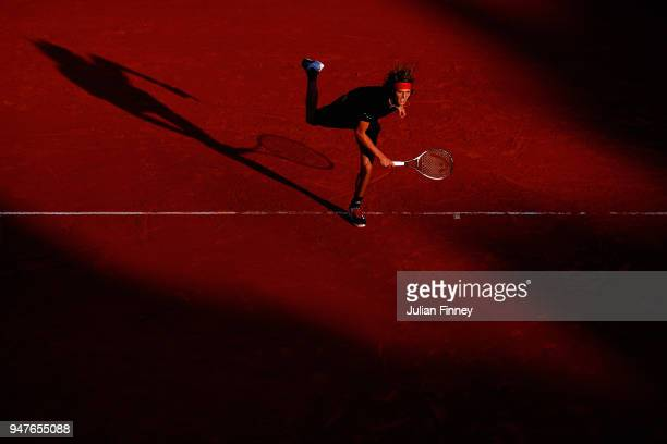 Alexander Zverev of Germany serves to Gilles Muller of Luxembourg during Day Three of the ATP Masters Series Monte Carlo Rolex Masters at MonteCarlo...