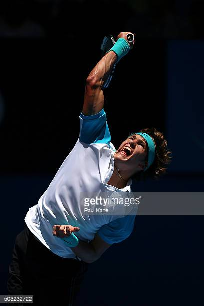 Alexander Zverev of Germany serves to Nick Kyrgios of Australia Green during day one of the 2016 Hopman Cup at Perth Arena on January 3 2016 in Perth...