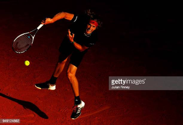 Alexander Zverev of Germany serves to Richard Gasquet of France during day six of the ATP Masters Series Monte Carlo Rolex Masters at MonteCarlo...