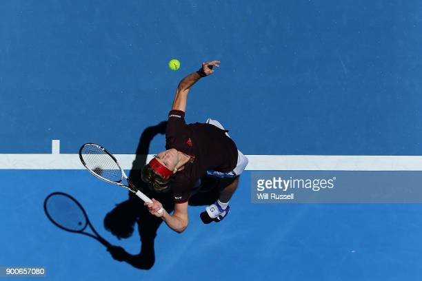Alexander Zverev of Germany serves to Vasek Pospisil of Canada in the mens singles match on Day Five of the 2018 Hopman Cup at Perth Arena on January...