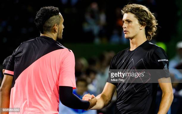 Alexander Zverev of Germany shakes hands after beating Nick Kyrgios of Australia 64 64 during Day 9 of the Miami Open Presented by Itau at Crandon...