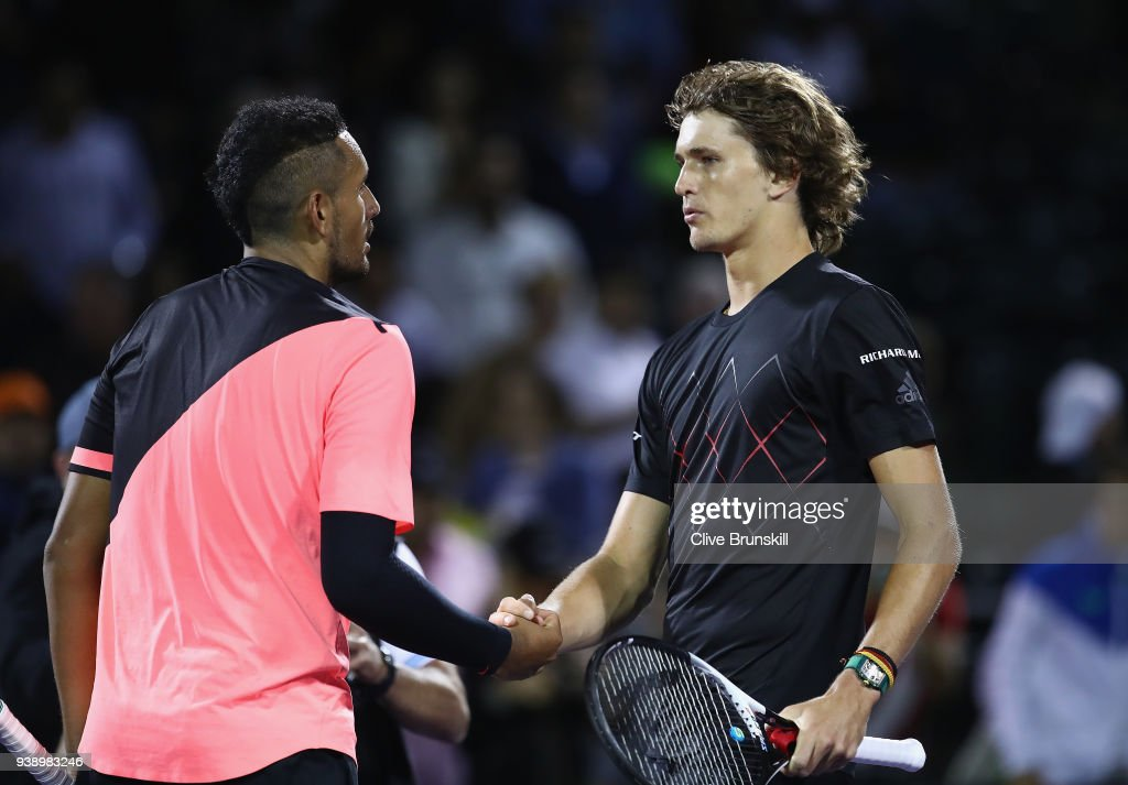 Alexander Zverev of Germany shakes hands at the net after his straight sets victory against Nick Kyrgios of Australia in their fourth round match during the Miami Open Presented by Itau at Crandon Park Tennis Center on March 27, 2018 in Key Biscayne, Florida.