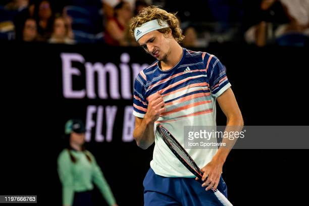 Alexander Zverev of Germany shows his frustration during the semifinals of the 2020 Australian Open on January 31 2020 at Melbourne Park in Melbourne...