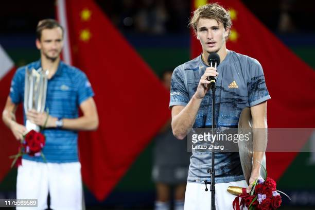 Alexander Zverev of Germany speaks during the Award Ceremony after lose the game against Daniil Medvedev of Russia on day nine of 2019 Shanghai Rolex...