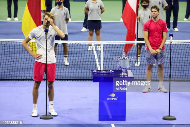 Alexander Zverev of Germany speaks during the trophy presentation after losing his Men's Singles final match against Dominic Thiem of Austria on Day...
