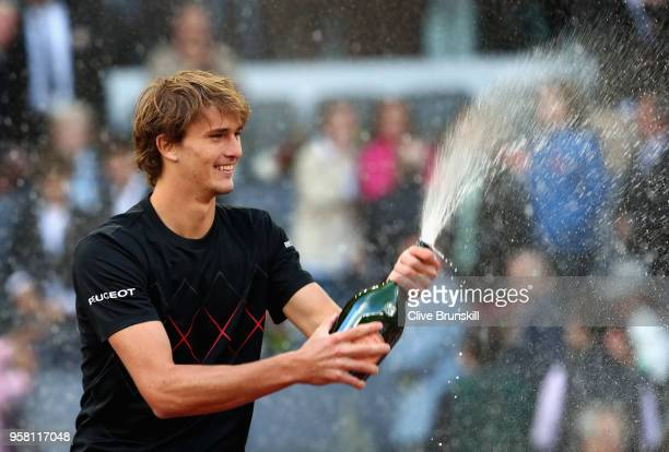 Alexander Zverev of Germany sprays champagne after his straight sets victory against Dominic Thiem of Austria in the mens final during day nine of...