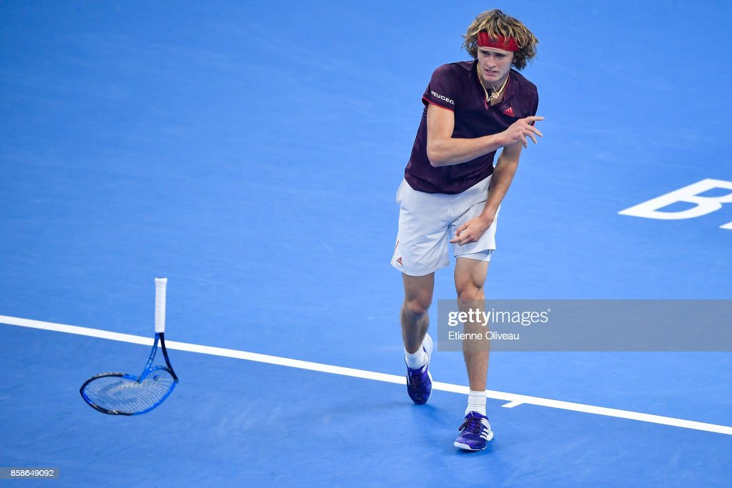 Alexander Zverev of Germany throws his racquet during his Men's singles semifinal match against Nick Kyrgios of Australia on day eight of 2017 China Open at the China National Tennis Centre on October 7, 2017 in Beijing, China.