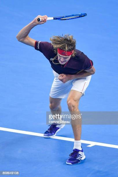 Alexander Zverev of Germany throws his racquet during his Men's singles semifinal match against Nick Kyrgios of Australia on day eight of 2017 China...