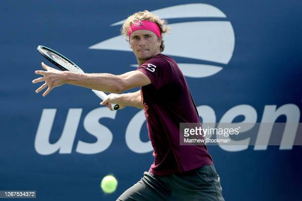 Alexander Zverev of Germany trains prior to the Western & Southern Open at the USTA Billie Jean King National Tennis Center on August 21, 2020 in New...
