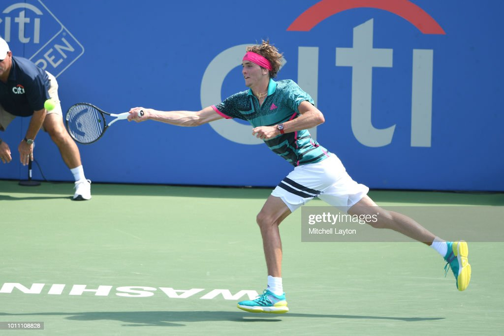 Alexander Zverev of Germany try to get to a shot from Stefanos Tsitsipas of Greece during a semifinal match on Day Eight of the Citi Open at the Rock Creek Tennis Center on August 4, 2018 in Washington, DC.