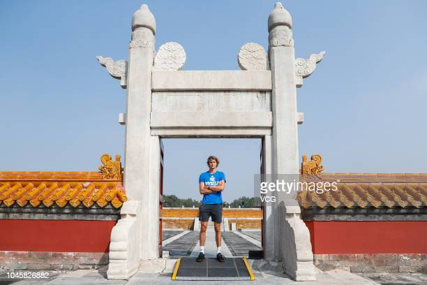 Alexander Zverev of Germany visits the Temple of the Earth ahead of the 2018 China Open on September 28 2018 in Beijing China