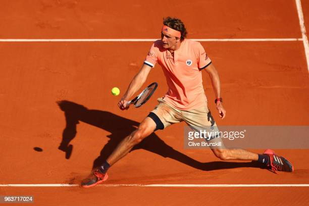 Alexander Zverev of Germany volleys during the mens singles second round match against Dusan Lajovic of Serbia during day four of the 2018 French...