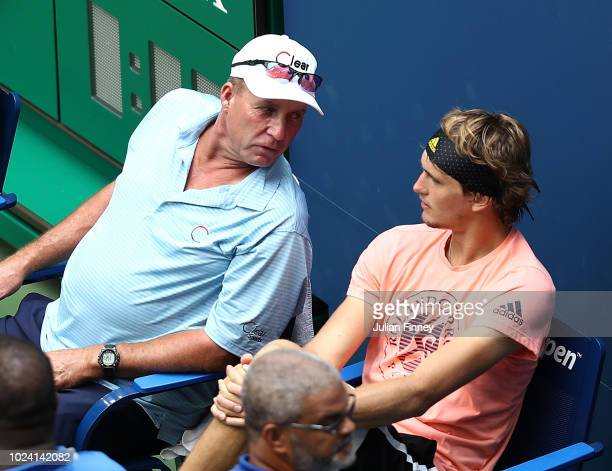 Alexander Zverev of Germany with coach Ivan Lendl during previews for the US Open at USTA Billie Jean King National Tennis Center on August 26 2018...