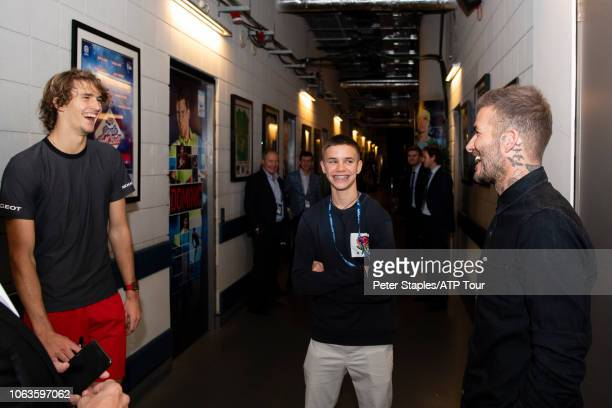 Alexander Zverev of Germany with retired English professional footballer David Beckham and son Romeo at the Nitto ATP Finals at The O2 arena on...