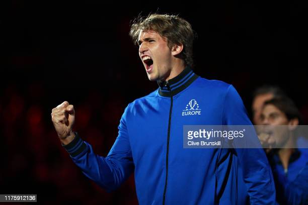 Alexander Zverev of Team Europe celebrates as he watches the singles match between Denis Shapovalov of Team World and Dominic Thiem of Team Europe...