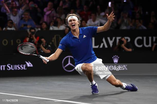 Alexander Zverev of Team Europe celebrates defeating Milos Raonic of Team World during Day Three of the Laver Cup 2019 at Palexpo on September 22,...
