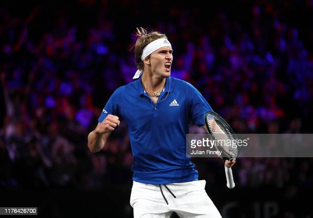 Alexander Zverev of Team Europe celebrates in his match against Milos Raonic of Team World during Day Three of the Laver Cup 2019 at Palexpo on...