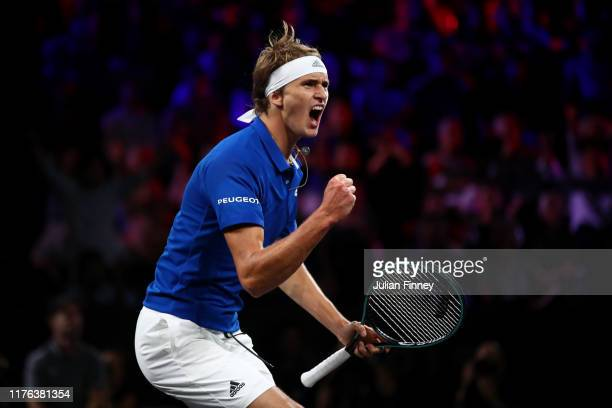 Alexander Zverev of Team Europe celebrates in the final match of the tournament against Milos Raonic of Team World during Day Three of the Laver Cup...