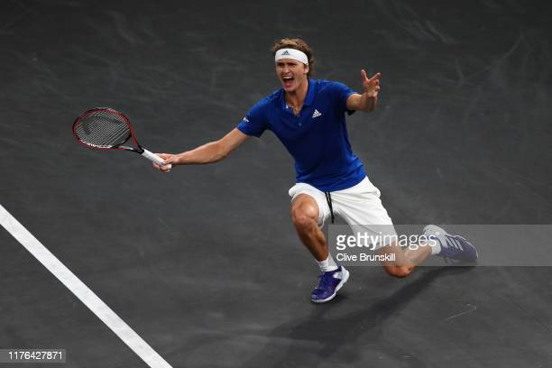 Alexander Zverev of Team Europe celebrates Laver Cup point in the final match of the tournament against Milos Raonic of Team World during Day Three...