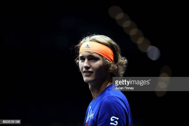 Alexander Zverev of Team Europe during practice ahead of the Laver Cup on September 21 2017 in Prague Czech Republic The Laver Cup consists of six...