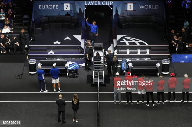 Alexander Zverev of Team Europe enters the arena on Day 2 of the Laver Cup on September 23 2017 in Prague Czech Republic The Laver Cup consists of...