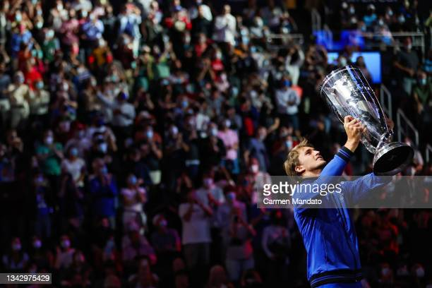 Alexander Zverev of Team Europe holds the Laver Cup trophy after Team Europe defeated Team World 14-1 during Day 3 of the 2021 Laver Cup at TD Garden...