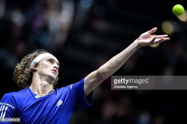 Alexander Zverev of Team Europe in action against Sam Querry of Team World during the Laver Cup in Prague Czech Republic on September 24 2017 It is a...